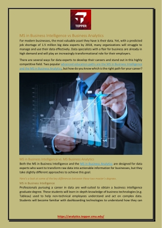 MS in Business Intelligence vs Business Analytics
