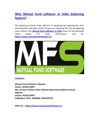 Why Mutual fund software in India balancing feature?