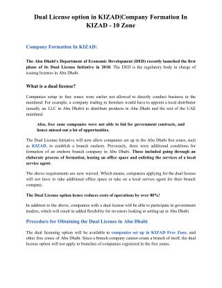 Dual License option in KIZAD|Company Formation In KIZAD - 10 Zone