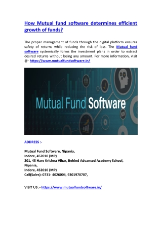 How Mutual fund software determines efficient growth of funds?