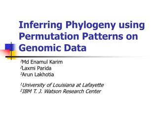 Inferring Phylogeny using Permutation Patterns on Genomic Data
