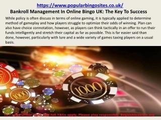Bankroll Management In Online Bingo UK: The Key To Success