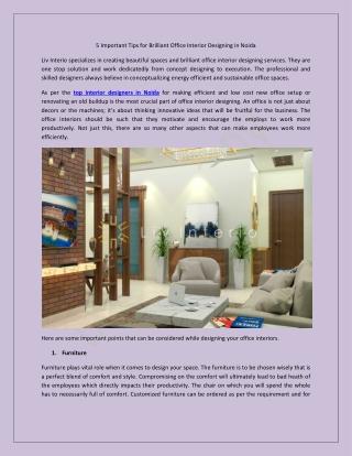 5 Important Tips for Brilliant Office Interior Designing in Noida