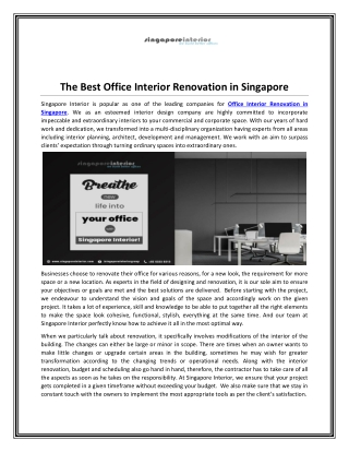 Office Interior Renovation in Singapore