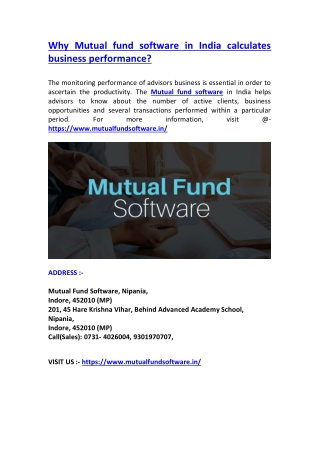 Why Mutual fund software in India calculates business performance?