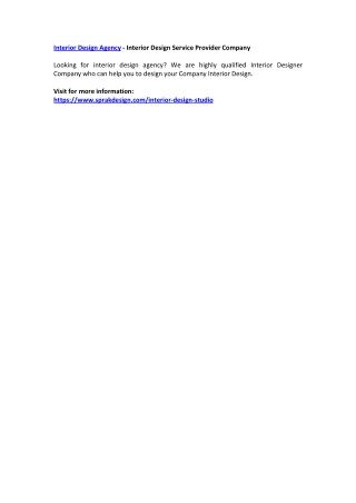 Interior Design Agency - Interior Design Service Provider Company