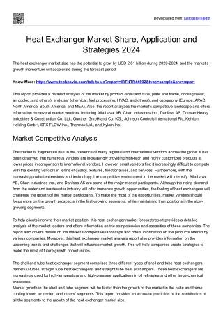 Heat Exchanger Market Future Analysis 2024