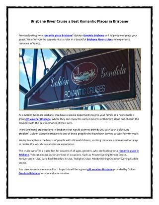 Brisbane River Cruise a Best Romantic Places in Brisbane
