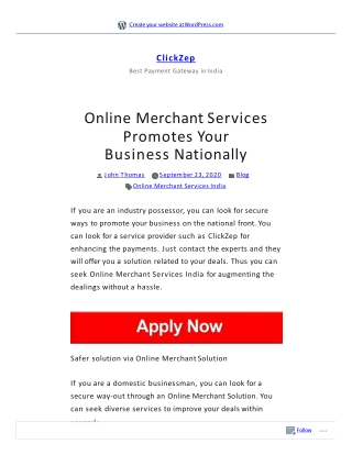 Online Merchant Services Promotes Your Business Nationally