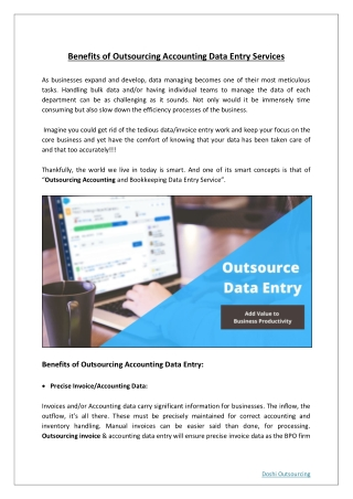 Benefits of Outsourcing Accounting Data Entry