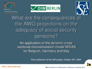 What are the consequences of the AWG projections on the adequacy of social security pensions?