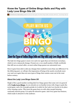 Know the Types of Online Bingo Balls and Play with Lady Love Bingo Site UK