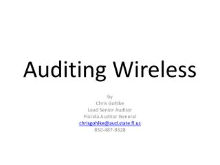 Auditing Wireless