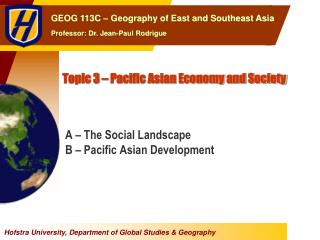 Topic 3 – Pacific Asian Economy and Society