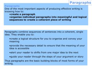 Paragraphs  One of the most important aspects of producing effective writing is knowing how to: create a paragraph