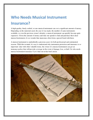 Who Needs Musical Instrument Insurance?