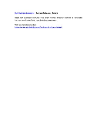 Best Business Brochures - Business Catalogue Designs
