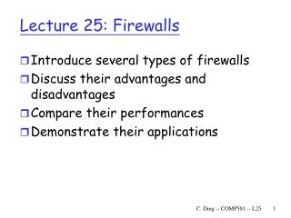 Lecture 25: Firewalls