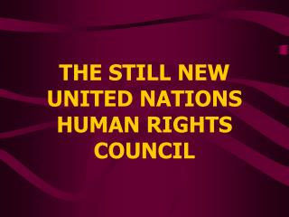 THE STILL NEW UNITED NATIONS HUMAN RIGHTS COUNCIL