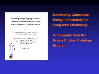 Developing Conceptual Ecosystem Models for Long-term Monitoring:  An Example from the  Prairie Cluster Prototype Program