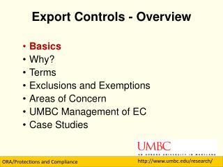 Export Controls - Overview