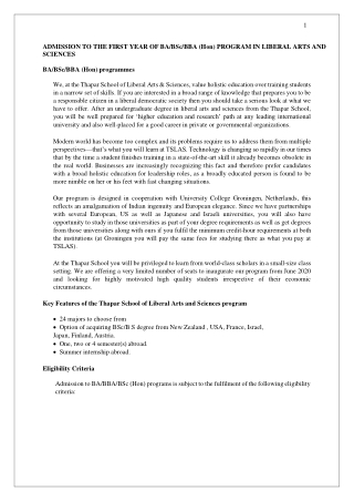 Admission to BA/BSc/BBA (Hon) Program in Liberal Arts and Sciences Prospectus