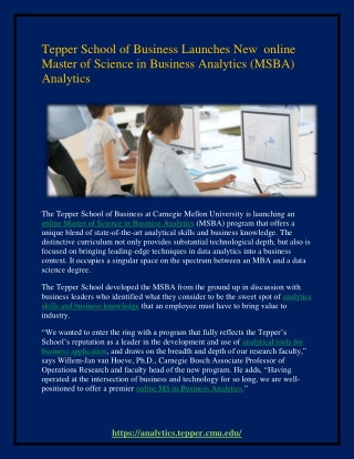 Tepper School of Business Launches New  online Master of Science in Business Analytics (MSBA) Analytics