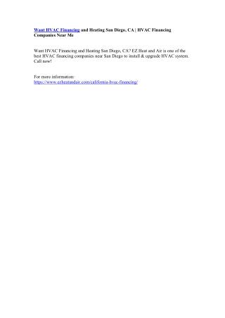 Want HVAC Financing and Heating San Diego, CA | HVAC Financing Companies Near Me