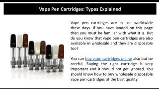 Vape Pen Cartridges Types Explained