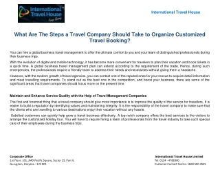 What Are The Steps a Travel Company Should Take to Organize Customized Travel Booking?