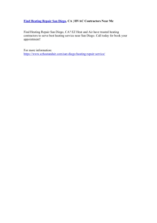 Find Heating Repair San Diego, CA | HVAC Contractors Near Me