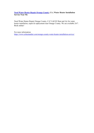 Need Water Heater Repair Orange County, CA | Water Heater Installation Service Near Me