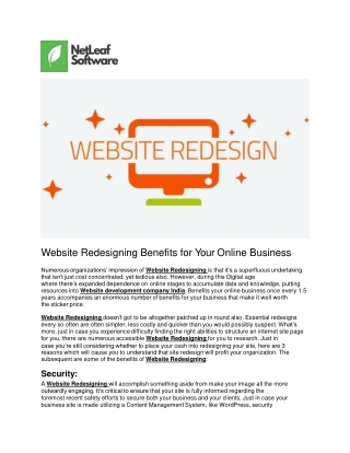 Website Redesigning Benefits for Your Online Business
