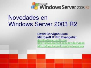 Novedades en  Windows Server 2003 R2