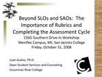Beyond SLOs and SAOs:  The Importance of Rubrics and Completing the Assessment Cycle  CSSO Southern Drive-In Workshop Me