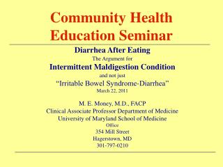 Community Health Education Seminar