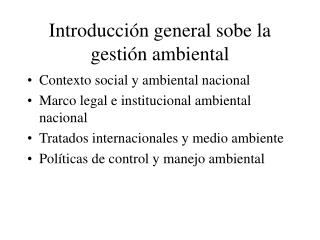 Introducción general sobe la gestión ambiental