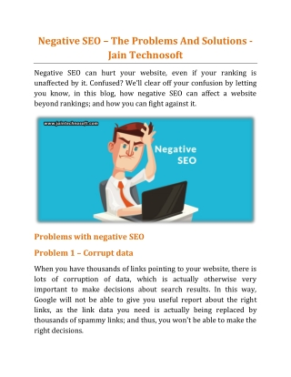 Negative SEO – The Problems And Solutions - Jain Technosoft