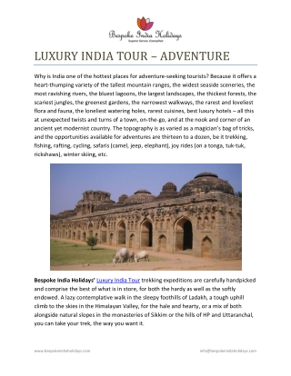 LUXURY INDIA TOUR – ADVENTURE