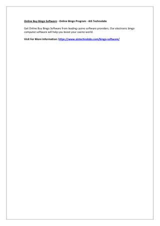Online Buy Bingo Software - Online Bingo Program - AIS Technolabs