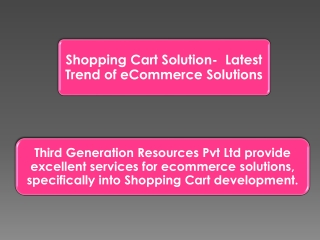 Shopping Cart Solution- Latest Trend of eCommerce Solutions