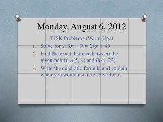 Monday, August 6, 2012
