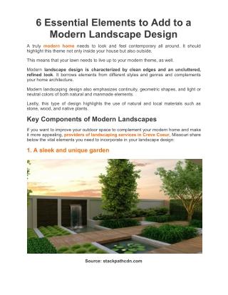6 Essential Elements For Modern Landscape Design