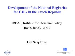 Development of the National Registries for GHG in the Czech Republic
