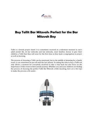 Buy Tallit Bar Mitzvah: Perfect for the Bar Mitzvah Boy