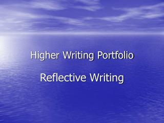 Higher Writing Portfolio