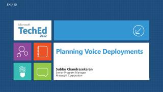 Planning Voice Deployments