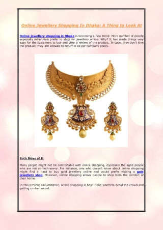 Online Jewellery Shopping In Dhaka: A Thing to Look At