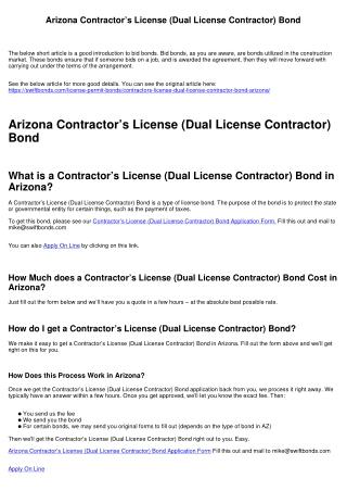 Arizona Contractor's License (Dual License Contractor) Bond