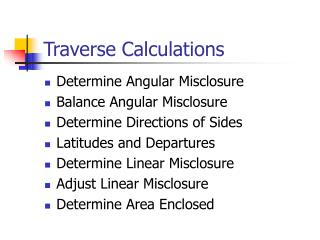 Traverse Calculations